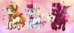 Size: 6195x2772 | Tagged: safe, artist:eperyton, oc, oc only, bat pony, earth pony, pony, abstract background, bat pony oc, bat wings, bowtie, cloven hooves, colored hooves, earth pony oc, facial hair, female, hat, male, mare, moustache, smiling, stallion, wings