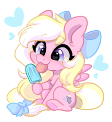 Size: 1068x1162 | Tagged: safe, artist:colorfulcolor233, oc, oc only, oc:bay breeze, pegasus, pony, bow, chest fluff, chibi, cute, daaaaaaaaaaaw, ear fluff, female, food, hair bow, heart, heart eyes, mare, ocbetes, pegasus oc, popsicle, simple background, sitting, solo, tail bow, tongue out, white background, wingding eyes