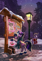 Size: 1800x2589   Tagged: safe, artist:harwick, mr. waddle, twilight sparkle, pony, unicorn, bag, butt, clothes, commission, cover art, fanfic, fanfic art, fanfic cover, gloves, glowing horn, horn, open mouth, saddle bag, scarf, snow, snowfall, streetlight, twibutt, unicorn twilight, winter