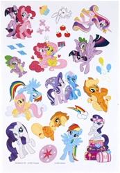 Size: 703x1015   Tagged: safe, angel bunny, applejack, fluttershy, pinkie pie, princess cadance, rainbow dash, rarity, spike, starlight glimmer, trixie, twilight sparkle, alicorn, dragon, earth pony, pegasus, pony, rabbit, unicorn, official, animal, bipedal, cellphone, cloud, crayola, cupcake, cutie mark, eyeshadow, female, flying, food, hasbro, heart, luggage, makeup, male, mane seven, mane six, mare, open mouth, phone, photobomb, raised hoof, rearing, scan, selfie stick, simple background, sitting, smartphone, spike riding twilight, starlight wearing trixie's hat, sticker, sunglasses, twilight sparkle (alicorn), white background