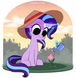 Size: 2295x2335 | Tagged: safe, artist:syrupyyy, starlight glimmer, pony, unicorn, :t, cute, female, flower, garden, gardening, glimmerbetes, glowing horn, hat, high res, horn, levitation, looking at something, magic, magic aura, mare, missing cutie mark, sitting, smiling, solo, sun hat, telekinesis, watering, watering can