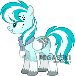 Size: 1024x1027 | Tagged: safe, artist:pegasski, oc, oc:ocean comet, pegasus, pony, clothes, colored wings, female, mare, scarf, simple background, solo, transparent background, two toned wings, wings