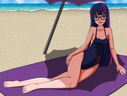 Size: 3000x2272 | Tagged: safe, artist:artemis-polara, kotobukiya, twilight sparkle, human, barefoot, beach, breasts, cleavage, clothes, feet, glasses, humanized, kotobukiya twilight sparkle, ocean, one-piece swimsuit, smiling, solo, swimsuit, umbrella