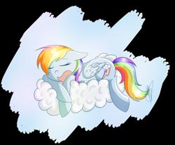 Size: 2000x1650 | Tagged: safe, artist:magicbriz, rainbow dash, pegasus, pony, backwards cutie mark, cloud, cute, dashabetes, eyes closed, female, floppy ears, lying down, mare, newbie artist training grounds, on a cloud, open mouth, prone, sleeping, solo