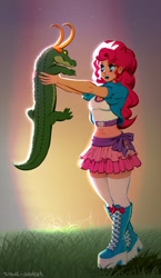 Size: 574x990 | Tagged: safe, artist:rrd-artist, gummy, pinkie pie, equestria girls, alligator loki, human coloration, loki (tv series)