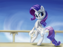 Size: 3000x2250 | Tagged: safe, artist:flusanix, rarity, pony, unicorn, bipedal, female, high res, mare, smiling, solo