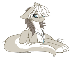 Size: 850x694   Tagged: safe, artist:inspiredpixels, oc, oc only, pony, floppy ears, jewelry, lying down, pale belly, pendant, signature, simple background, solo, transparent background