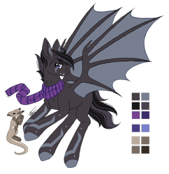 Size: 1250x1291   Tagged: safe, artist:inspiredpixels, oc, oc only, hybrid, pony, bat wings, clothes, coat markings, fangs, male, reference sheet, scarf, simple background, spread wings, stallion, transparent background, wings