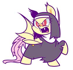 Size: 741x716 | Tagged: safe, artist:yokokinawa, fluttershy, bat pony, bat ponified, fangs, flutterbat, nun, race swap, simple background, white background