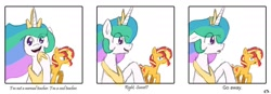 Size: 1199x418 | Tagged: safe, artist:dark shadow, princess celestia, sunset shimmer, alicorn, unicorn, angry, annoyed, comic, dialogue, floppy ears, looking at you, sad