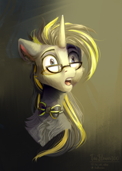 Size: 805x1131 | Tagged: safe, artist:teaflower300, oc, oc only, pony, unicorn, bowtie, bust, chest fluff, glasses, open mouth, solo, surprised, wide eyes
