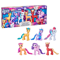 Size: 2000x2000   Tagged: safe, hitch trailblazer, izzy moonbow, pipp petals, sprout (g5), sunny starscout, zipp storm, earth pony, pegasus, pony, unicorn, g5, my little pony: a new generation, official, box, female, hasbro logo, male, mane five (g5), mare, my little pony logo, simple background, stallion, target (store), text, toy, white background