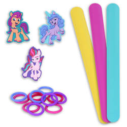 Size: 2000x2000   Tagged: safe, izzy moonbow, sunny starscout, zipp storm, earth pony, pony, unicorn, g5, official, bracelet, female, mare, merchandise, toy