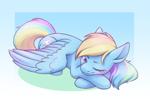 Size: 2800x1845   Tagged: safe, artist:anvalina, rainbow dash, pegasus, pony, cute, dashabetes, female, lying down, mare, one eye closed, prone, solo, waking up