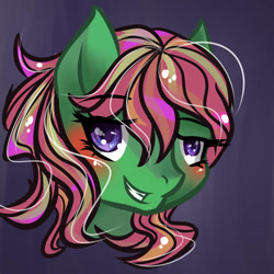 Size: 894x894 | Tagged: safe, artist:joan-grace, oc, oc only, earth pony, pony, blushing, bust, earth pony oc, eyelashes, female, grin, mare, smiling, solo