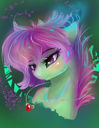 Size: 1700x2200 | Tagged: safe, artist:joan-grace, oc, oc only, dracony, earth pony, hybrid, pony, blushing, bust, earth pony oc, eyelashes, female, interspecies offspring, jewelry, mare, necklace, offspring, parent:rarity, parent:spike, parents:sparity, smiling, solo
