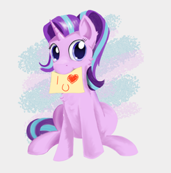 Size: 3096x3143 | Tagged: safe, artist:l1ght, starlight glimmer, pony, unicorn, cheek fluff, chest fluff, cute, female, glimmerbetes, high res, i <3 u, i love you, looking at you, mare, mouth hold, purple eyes, reformed starlight, shiny eyes, shiny mane, sign, simple background, sitting, solo