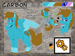 Size: 2732x2048   Tagged: safe, artist:sursiq, oc, oc only, oc:carbon, pegasus, pony, blue eyes, brown mane, clothes, colored wings, cutie mark, gears, hoodie, male, multicolored wings, pegasus oc, reference sheet, solo, stallion, watermark, wings