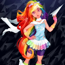 Size: 1080x1080   Tagged: safe, artist:asherbeeart, rainbow dash, human, abstract background, clothes, female, hand on hip, humanized, paper airplane, shorts, skirt, solo