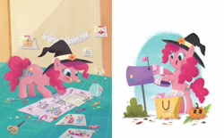 Size: 2268x1406 | Tagged: safe, artist:leire martin, pinkie pie, earth pony, pony, an egg-cellent costume party, g4, official, arts and crafts, bipedal, book, clothes, costume, crayon, female, halloween, hat, holiday, jack-o-lantern, little golden book, mail, mailbox, mare, paper, pumpkin, scissors, witch hat