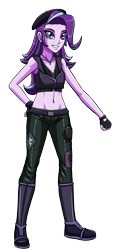 Size: 1432x3000   Tagged: safe, artist:artemis-polara, starlight glimmer, equestria girls, beret, boots, clothes, gloves, hat, jewelry, midriff, necklace, pants, shoes, simple background, solo, transparent background, vest