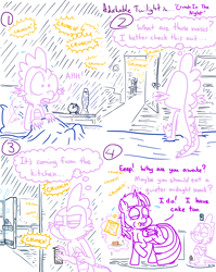 Size: 4779x6013   Tagged: safe, artist:adorkabletwilightandfriends, spike, twilight sparkle, alicorn, dragon, pony, comic:adorkable twilight and friends, adorkable, adorkable twilight, alert, awake, awakened, awkwakening, bed, bedroom, blanket, cake, caught, caught red hooved, cheating, chips, clock, comic, crunch, cute, dark, darkness, door, dork, eating, family, female, food, friendship, kitchen, lava lamp, light, magic, male, mare, midnight snack, night, pepper spray, pillow, refrigerator, shadows, sheet, sleeping, slice of life, snack, sneaking, surprised, twilight sparkle (alicorn)