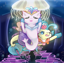 Size: 1728x1701 | Tagged: safe, artist:kingkero, princess skystar, queen novo, jellyfish, seapony (g4), my little pony: the movie, bioluminescent, blue mane, bubble, chibi, collar, crepuscular rays, crown, deviantart watermark, dorsal fin, eyes closed, female, fin wings, fins, fish tail, flower, flower in hair, flowing tail, glowing, jewelry, necklace, obtrusive watermark, ocean, one eye closed, open mouth, open smile, pearl necklace, purple mane, regalia, seaquestria, seashell necklace, smiling, swimming, tail, throne room, underwater, water, watermark, wings