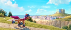 Size: 2048x858   Tagged: safe, screencap, sunny starscout, earth pony, pony, g5, my little pony: a new generation, official, spoiler:my little pony: a new generation, cloud, female, helmet, mare, maretime bay, ocean, roller skates, skyscraper, solo