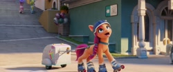 Size: 2048x858   Tagged: safe, screencap, sunny starscout, earth pony, pony, g5, my little pony: a new generation, official, spoiler:my little pony: a new generation, background pony, balloon, cart, female, helmet, mare, maretime bay, pony pulls the wagon, roller skates, smoothie