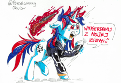 Size: 1326x912   Tagged: safe, artist:porcelain eyepiece, oc, oc:snowi, pony, unicorn, fallout equestria, angry, angry face, biohazard sign, blue hair, clothes, fallout, female, full body, gun, hooves, horn, magic, magic aura, mare, not blackjack, polish, red and blue, red eyes, red hair, red magic, shotgun, tail, thinking, traditional art, translated in the comments, vault security armor, vault suit, weapon, white pony