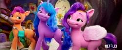Size: 1272x528   Tagged: safe, screencap, izzy moonbow, pipp petals, sunny starscout, earth pony, pegasus, pony, unicorn, g5, my little pony: a new generation, spoiler:g5, spoiler:my little pony: a new generation, netflix logo