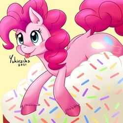 Size: 3000x3000 | Tagged: safe, artist:yukirasha, pinkie pie, earth pony, pony, :p, cupcake, cute, diapinkes, dock, female, food, happy, mare, smiling, tongue out, unshorn fetlocks