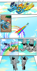 Size: 1800x3457   Tagged: safe, artist:candyclumsy, rainbow dash, soarin', spitfire, pony, burnt, clothes, color loss, comic, flying, grin, nervous, nervous grin, smiling, sonic rainboom, torn clothes, uniform, we don't normally wear clothes, wide eyes, wonderbolts uniform