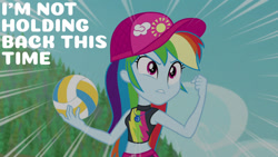 Size: 1280x720   Tagged: safe, edit, edited screencap, editor:quoterific, screencap, rainbow dash, equestria girls, equestria girls series, forgotten friendship, belly button, clothes, female, geode of super speed, jewelry, magical geodes, midriff, necklace, solo, sports, swimming trunks, swimsuit, volleyball