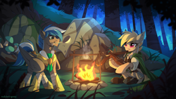 Size: 3000x1688 | Tagged: safe, artist:redchetgreen, oc, oc only, oc:cloud zapper, unnamed oc, earth pony, pegasus, armor, campfire, crossbow, cutie mark, duo, fire, food, forest, grass, log, mouth hold, night, pot, rock, scenery, tree, weapon