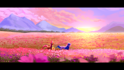 Size: 1920x1080 | Tagged: safe, artist:teaflower300, izzy moonbow, sunny starscout, earth pony, pony, unicorn, g5, cloud, flower, mountain