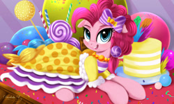 Size: 3000x1800 | Tagged: safe, artist:darksly, pinkie pie, earth pony, pony, blushing, bow, cake, candy, clothes, confetti, cute, diapinkes, dress, female, floppy ears, food, gala dress, happy, jewelry, lollipop, lying down, mare, necklace, open mouth, open smile, prone, smiling, sweets