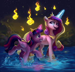 Size: 2910x2800 | Tagged: safe, artist:jewellier, artist:lummh, princess cadance, twilight sparkle, alicorn, pony, crown, cute, cutedance, duo, female, fire, glowing horn, grin, happy, hoof shoes, horn, jewelry, magic, mare, regalia, sisters-in-law, smiling, talking, twiabetes, twilight sparkle (alicorn), walking, water