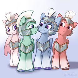 Size: 2048x2048 | Tagged: safe, artist:pfeffaroo, zoom zephyrwing, pegasus, pony, g5, armor, gay, guard, hooves, imminent kissing, male, stallion, unnamed character, unnamed pony, wings