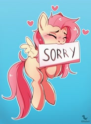 Size: 2944x4000   Tagged: safe, artist:dinoalpaka, fluttershy, pegasus, pony, blushing, chromatic aberration, cute, eyes closed, female, gradient background, heart, high res, mare, missing cutie mark, mouth hold, outline, shyabetes, sign, solo, sorry, spread wings, white outline, wings