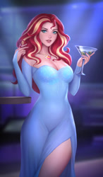 Size: 2000x3435 | Tagged: safe, artist:kayav, sunset shimmer, equestria girls, alcohol, bare shoulders, beautiful, beautisexy, breasts, busty sunset shimmer, cleavage, clothes, cutie mark accessory, cutie mark necklace, dress, glass, human coloration, jewelry, looking at you, martini, necklace, realistic, side slit, stupid sexy sunset shimmer