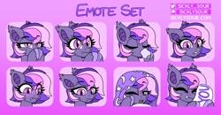 Size: 2774x1442   Tagged: safe, artist:sickly-sour, oc, oc only, oc:midnight mist, bat pony, pony, bat pony oc, blanket, blushing, fangs, mug, solo