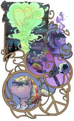 Size: 1024x1669   Tagged: safe, artist:sourcherry, oc, oc:rainbow code, pegasus, pony, unicorn, fallout equestria, fallout equestria: duck and cover, fallout equestria: make love not war, ball, explosion, fanfic art, glasses, magic, magic aura, peace sign, plushie, teddy bear