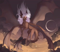 Size: 4096x3578   Tagged: safe, artist:magicbalance, artist:vitanistarcat, oc, oc only, dracony, dragon, hybrid, pony, cloud, moon, multiple wings, sky, solo, wings