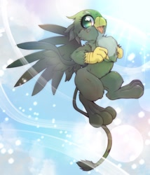 Size: 1756x2048 | Tagged: safe, artist:kurogewapony, gabby, griffon, cute, female, flying, gabbybetes, happy, open mouth, open smile, sky, smiling, solo