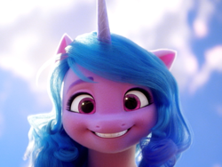 Size: 1144x858   Tagged: safe, screencap, izzy moonbow, pony, unicorn, g5, my little pony: a new generation, spoiler:my little pony: a new generation, beautiful, cropped, female, looking at you, mare, smiling, solo