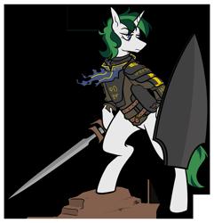 Size: 1159x1200   Tagged: safe, artist:egophiliac, oc, oc:baron, unicorn, armor, female, knight, shield, simple background, sword, transparent background, weapon