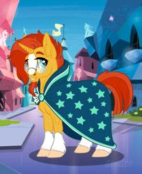 Size: 1043x1280 | Tagged: safe, artist:alexvalyutin, sunburst, pony, unicorn, blaze (coat marking), cloak, clothes, coat markings, ear fluff, facial hair, facial markings, glasses, goatee, horn, male, smiling, socks (coat markings), solo, stallion, sunburst's cloak, sunburst's glasses
