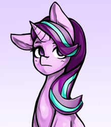Size: 1543x1764 | Tagged: safe, artist:kyouman1010, starlight glimmer, unicorn, bust, female, mare, one ear down, portrait, solo