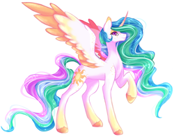Size: 4902x3888 | Tagged: safe, artist:damayantiarts, princess celestia, alicorn, pony, colored wings, curved horn, ethereal mane, ethereal tail, female, freckles, gradient hooves, gradient wings, horn, looking at you, mare, raised hoof, solo, spread wings, unshorn fetlocks, wings